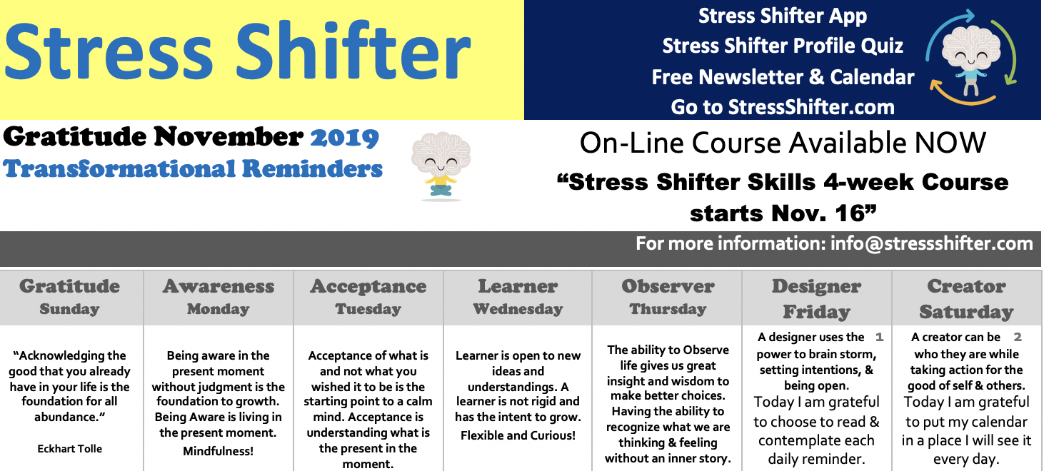 Stress Shifter's Gratitude November Newsletter 2019