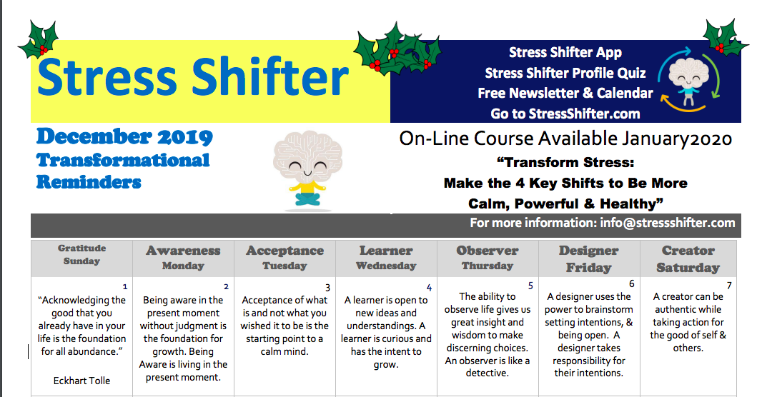 Stress Shifter's December Newsletter 2019